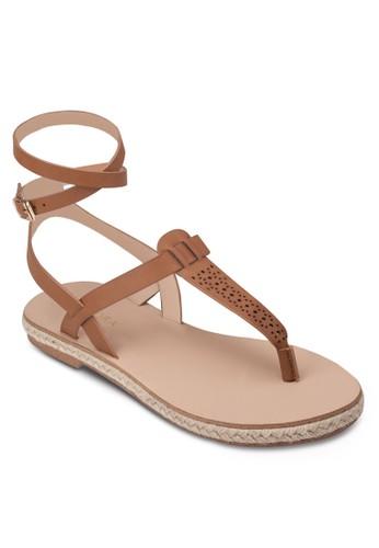 T 字帶繞踝麻編平底鞋zalora taiwan 時尚購物網鞋子, 女鞋, 涼鞋