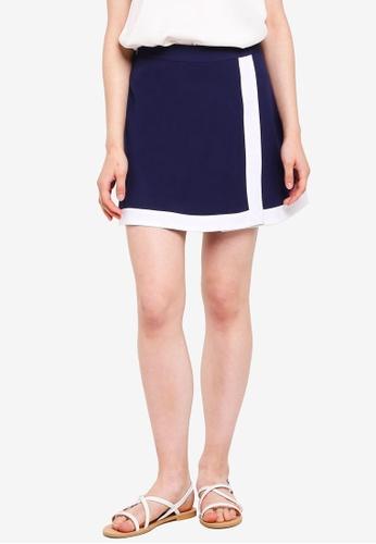 Something Borrowed navy Colorblock Wrap Skirt 42299AA30EAED1GS_1