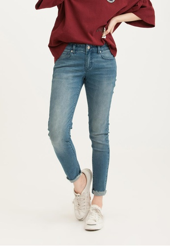 H:CONNECT blue Solid Color Skinny Demin Jeans BDE87AA60E81B7GS_1