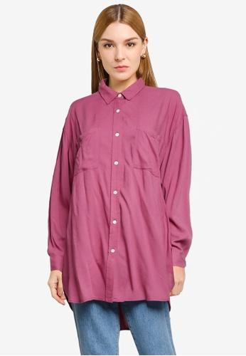 LOWRYS FARM pink Oversized Pockets Detail Shirt 60296AA244BF25GS_1