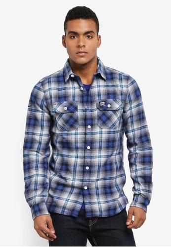 Superdry blue Lumberjack Lite Shirt 8EC2EAA8BCE37FGS_1