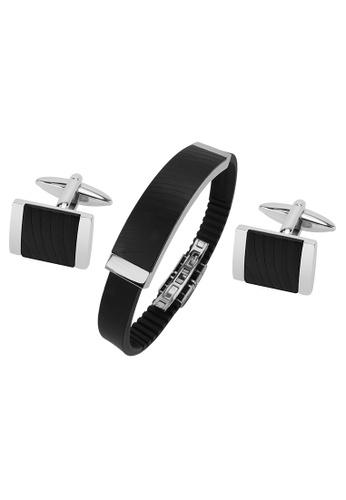 CUFF IT black Stainless Steel IP Black Zebra Texture Cufflinks and Bracelet Set 9AFE7AC31E8736GS_1