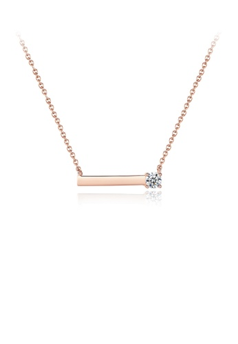 Glamorousky white 925 Sterling Silver Plated Rose Gold Simple Geometric Rectangular Necklace with Cubic Zirconia F8097ACB3B4A55GS_1