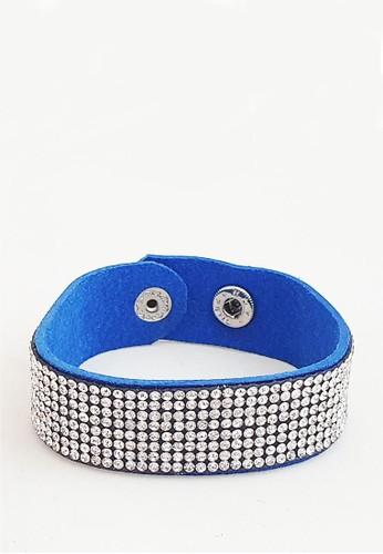 San Marco blue and silver Diamente Suede Snap Bracelet Blue BB281ACEDE7C1FGS_1