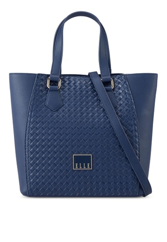 ELLE navy Weaving 3 Tote Bag EL900AC00VXJMY_1