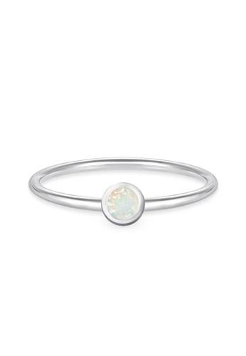 Aquae Jewels white Ring My BirthStone Opal – October, 18K Gold - White Gold F8BA6AC71CF4C9GS_1
