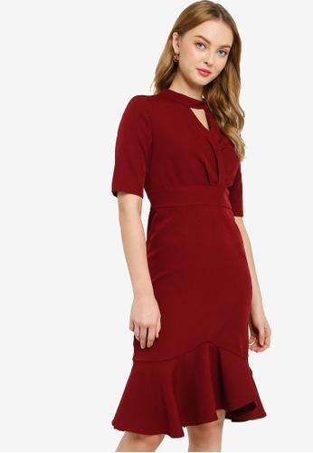 ZALORA WORK red High Neck Ruffle Hem Dress 750ACAAFD3E0B5GS_1