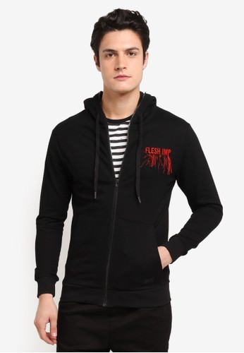 Flesh IMP black Anthrax Embroidery Hoodie 721A9AAB524121GS_1
