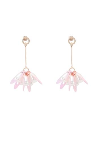 Dandelion pink Hollow Teardrop Pearl Holographic Earrings 495CEACB4E3066GS_1