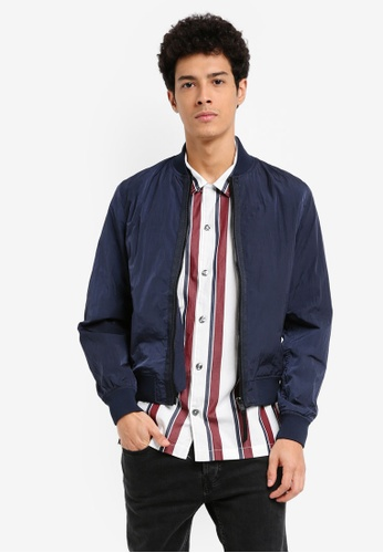 MANGO Man blue Nylon Bomber Jacket 5254FAA4D69811GS_1