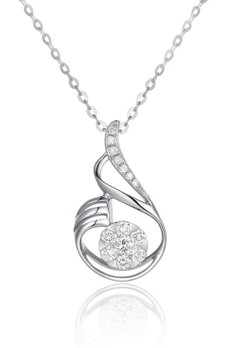 Prince Jewellery And Watch white and silver and gold 18K White Gold Diamond Wave Pendent 23BBBACCA0E6A5GS_1