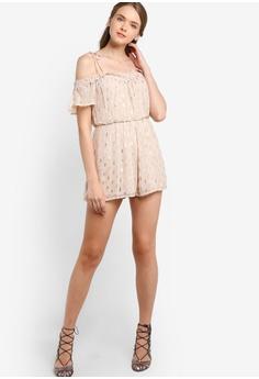fd58e91b7bd3 60% OFF Miss Selfridge Nude Dobby Lurex Cold Shoulder Playsuit RM 253.80  NOW RM 101.90 Sizes 10 12 14