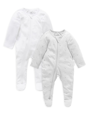 Purebaby grey and white 2 Pack Zip Growsuits 492AAKA81A8B9AGS_1