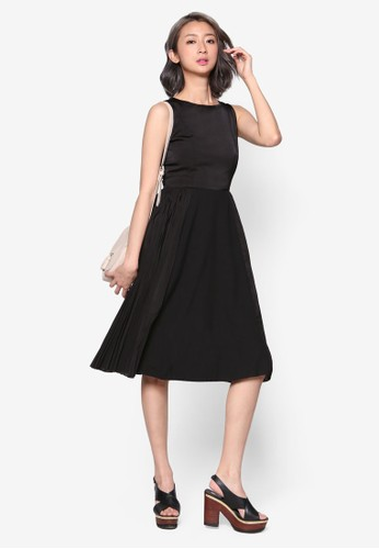 側褶飾裙擺及膝洋裝, esprit分店服飾, 洋裝