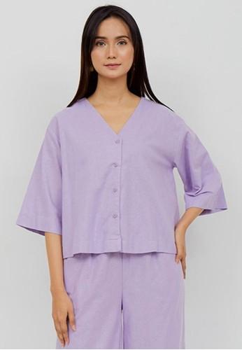 NOA EVERYDAY lilac purple KIMI Basic Long Sleeve Blouse - Lilac A7FC7AAEB71CF0GS_1