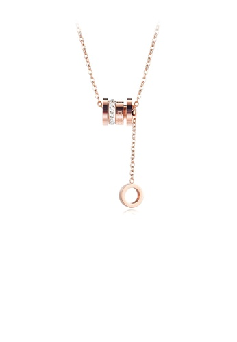 Glamorousky white Fashion Plated Rose Gold Roman Numeral Geometric Cylindrical Tassel 316L Stainless Steel Pendant with Cubic Zirconia and Necklace 8945DAC38671EBGS_1