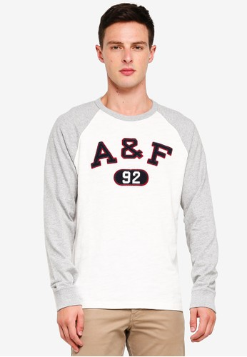 Abercrombie & Fitch white and multi Long Sleeve Logo T-Shirt 48F7CAAF57567CGS_1