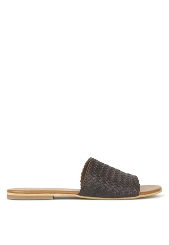 Betts brown Vista Woven Leather Slides 4C871SHAD8A129GS_1