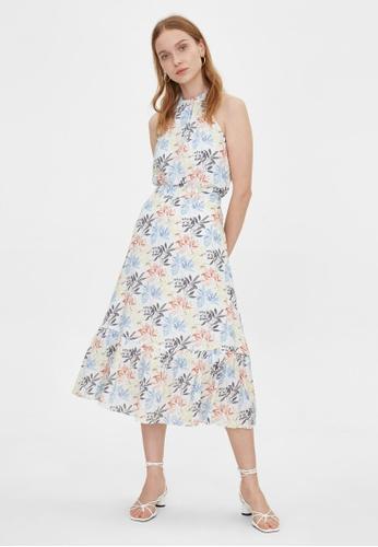 Pomelo white Leaf Print Ruffled Flare Skirt - White 618C3AAEC464CFGS_1