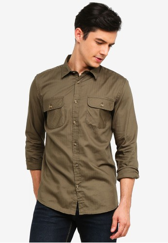 OVS green Solid Colour Pocket Shirt 004FEAAA3C240AGS_1