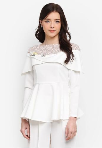 Zalia white Embellished Lace Pieced Peplum Top 05A94AA9379A18GS_1