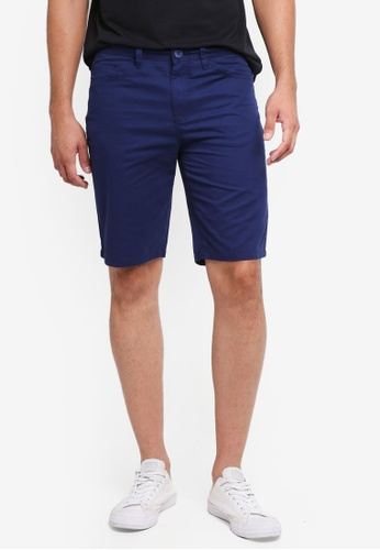 Penshoppe navy Tapered Fit 5-Pocket Shorts 14ED0AA3A53C40GS_1