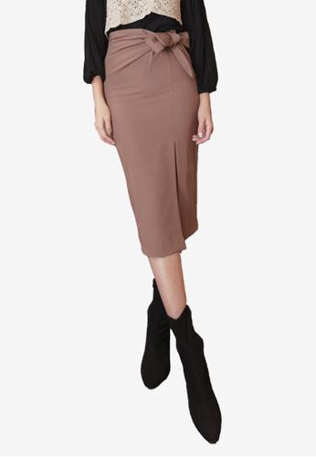 Kodz beige Charming Ribbon-Tie Side Split Skirt 7EE2BAAEE7A622GS_1
