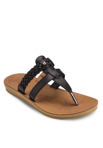 編織esprit 品牌帶夾趾平底涼鞋, 女鞋, 鞋