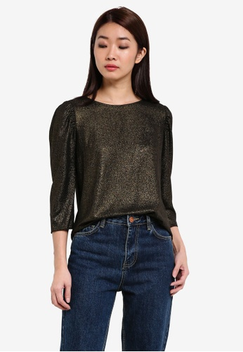 Dorothy Perkins gold Jennifer Gold Puff Sleeve Top DO816AA0RSNQMY_1