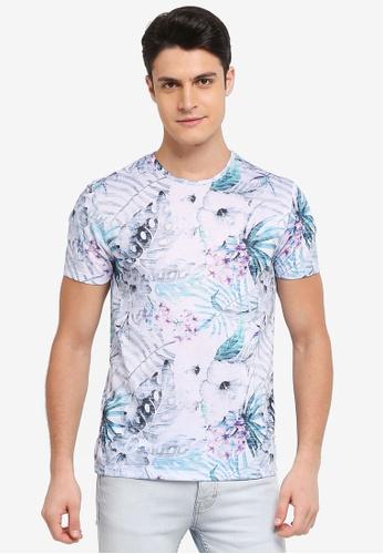 Burton Menswear London green Pink And Aqua Floral All-Over Print T-Shirt 4C595AA7AA5BB3GS_1