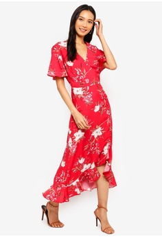 73c416ee1aa Miss Selfridge Red Floral Print Wrap Midi Dress RM 299.00. Sizes 6 8 10 12  14