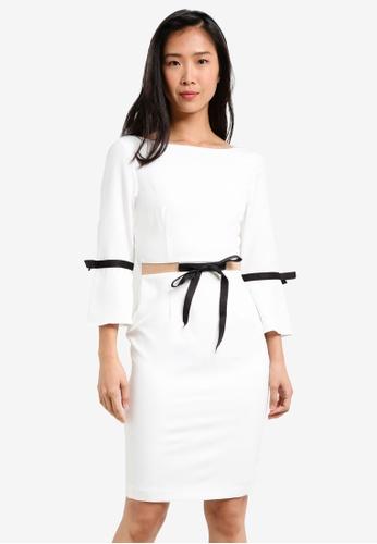 KLEEaisons black Fluted Sleeve Midi Dress KL492AA0RVPJMY_1