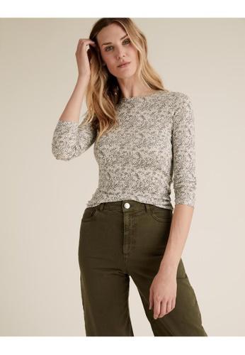 MARKS & SPENCER green M&S Pure Cotton Floral Regular Fit Top C0C0EAAA78D72EGS_1