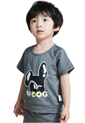 M.Latin grey Short Sleeve T-Shirt with Doggy Print 9ABB6KA5C5E723GS_1