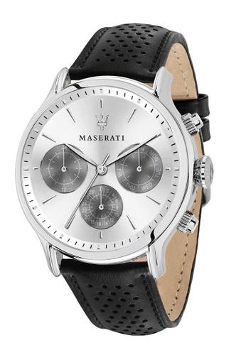Maserati brown Epoca Quartz Watch R8851118009 Black Leather Strap 3F892AC4044E22GS_1