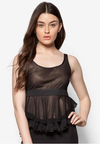 束腰zalora 衣服評價層次荷葉擺上衣, 服飾, 上衣