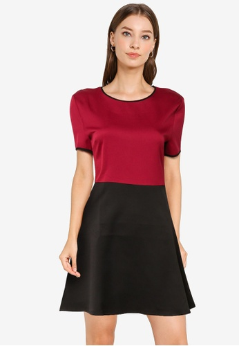 ZALORA WORK multi Colourblock Fit & Flare Dress 990ADAA561C0DCGS_1