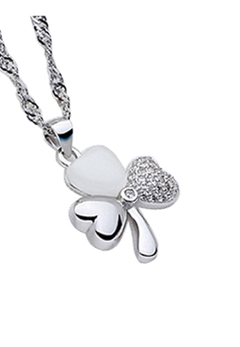 YOUNIQ silver YOUNIQ Lucky Love 925 Sterling Silver Necklace Pendant with White Stone Pave YO999AC41SFAMY_1