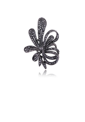 Glamorousky black Simple and Elegant Floral Brooch with Black Cubic Zirconia 7BF9DACB72FD89GS_1