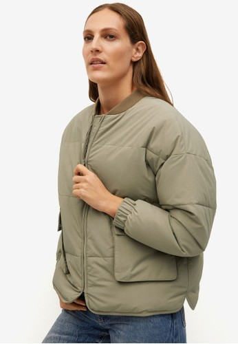 Mango green Quilted Oversize Bomber Jacket A3333AA7F50DCDGS_1
