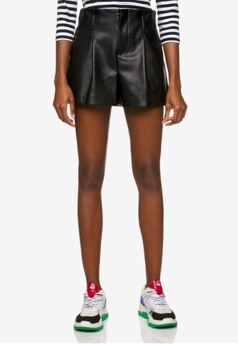 United Colors of Benetton black Leather Look High-waisted Shorts 12B07AAD233AEFGS_1