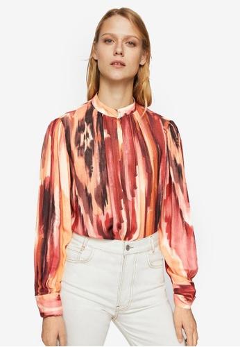 Mango orange Printed Flowy Shirt DF1C9AA84E56B4GS_1