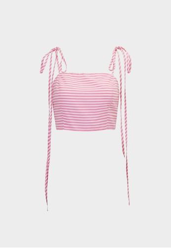 Pomelo pink Striped Tie Shoulder Crop Cami - Pink EFB9FAA62F0AC4GS_1