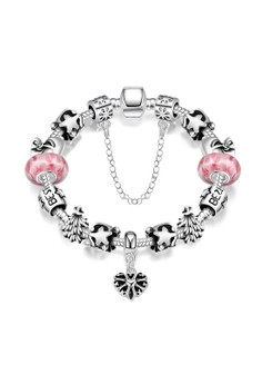 Treasure by B&DH004-B Cute Christmas Element Stars Snowflake & Tree Shape Plated Beads Bracelet