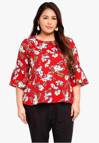 Ex'otico red Plus Size 3/4 Sleeve Boat Neck Blouse A173FAACBD448BGS_1