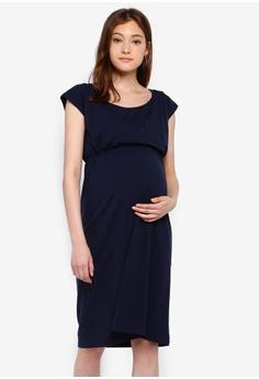 9b8b880788223 Mama.licious navy Maternity Pera Nell Short Sleeve Jersey Dress  C443AAA3064D7DGS_1