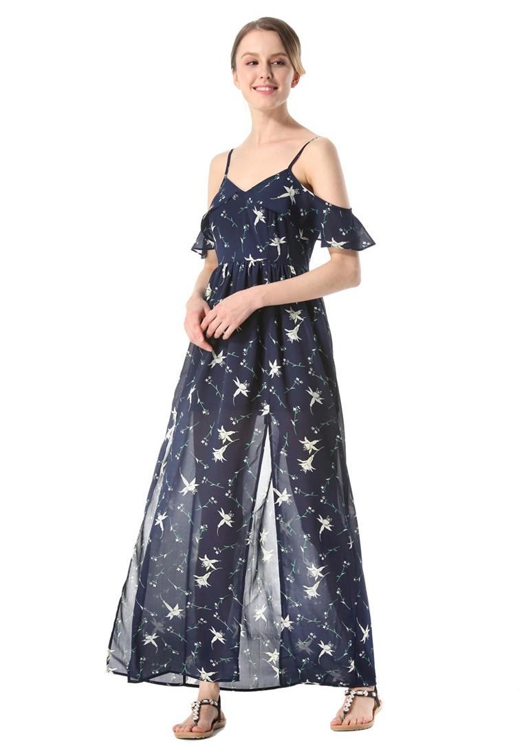 c635eda0ce9f ... Slit Blue Piece New Dress Chiffon Side One UA112305BL Slip Blue  Sunnydaysweety g1wtB ...