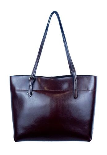 BELLE LIZ brown Leather Simple Wide Tote Bag Shoulder Handbag Coffee D6A6EACDFB5C92GS_1