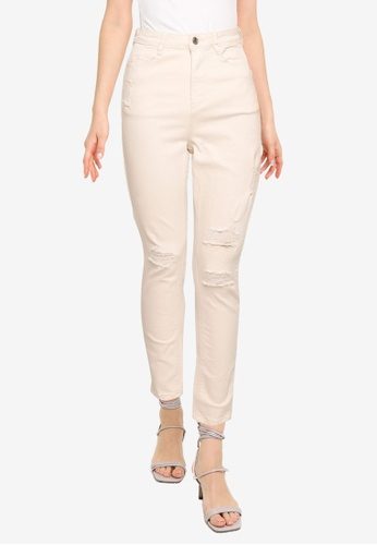 MISSGUIDED beige High Waisted Authentic Ripped Skinny Jeans 2610EAA259DBACGS_1