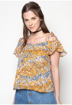 Printed Cold Shoulder With Ruffles Top